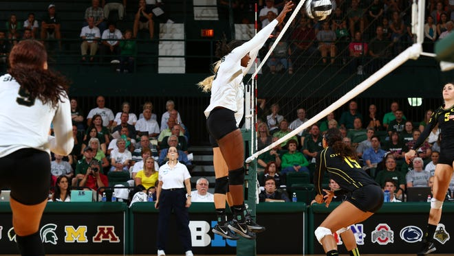 MSU volleyball player Alexis Mathews goes up during the September 6, 2013 game against Oregon.  photo courtesy of