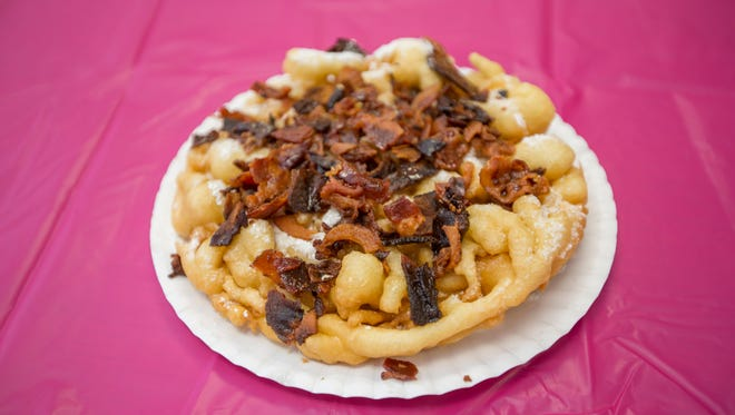 Funnel Lot's maple bacon funnel cake at the State Fairgrounds in Phoenix.