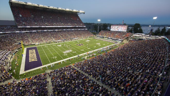 A view of Husky Stadium in Seattle, home of the Washington Huskies.