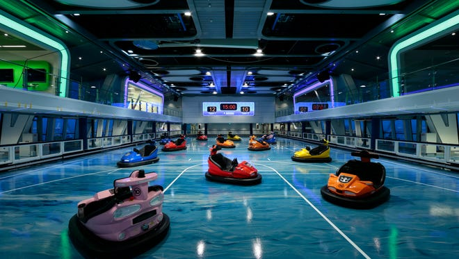 Bumper cars in the SeaPlex on Royal Caribbean's Quantum of the Seas.