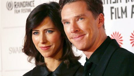 Actor Benedict Cumberbatch and Sophie Hunter arrive for the British Independent Film Awards at Old Billingsgate Market in central London, Sunday.