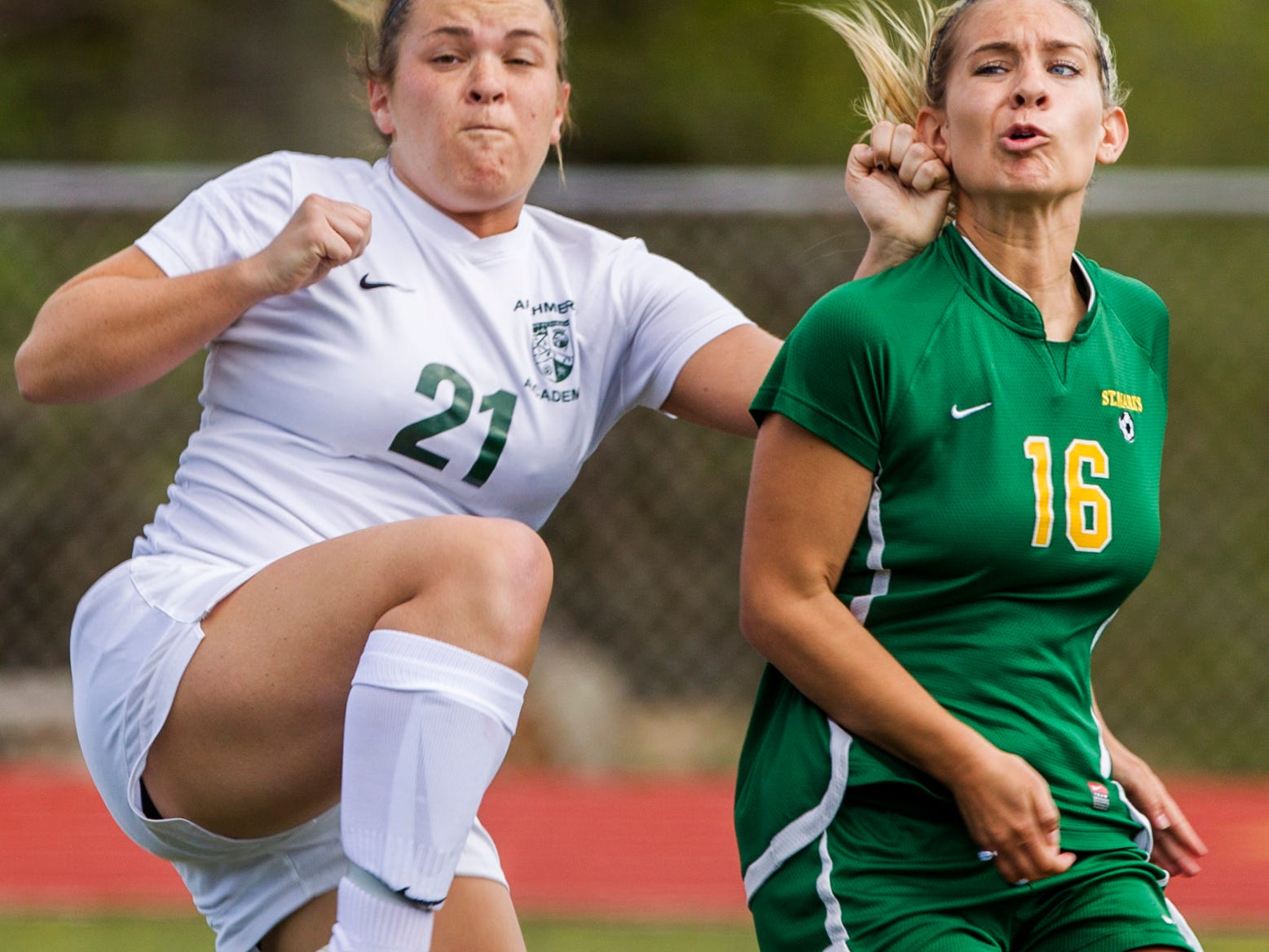 Archmere's Gillian Sweeny collides with St. Mark's Chelsea Vincelette as the ball enters the box during a game at Archmere Wednesday afternoon. Archmere defeated St. Mark's 2-1.