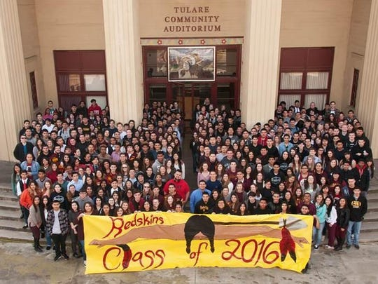 The 2016 Tulare Union High School class picture. The students were the last to graduate as Redskins.