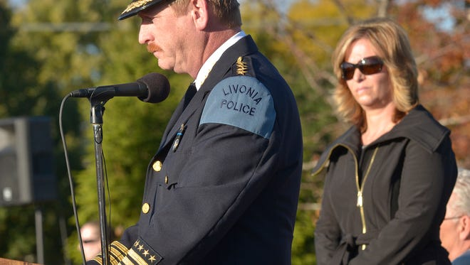 Chief Curtis Caid, pictured here during a ceremony honoring fallen Livonia officer Larry Nehasil, is retiring effective Jan. 1, 2022.