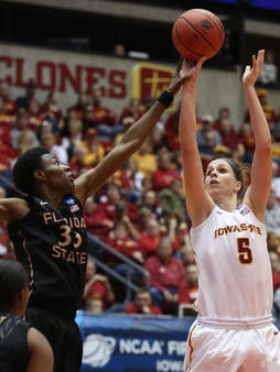 Iowa State's Hallie Christofferson (right) was named to the CLASS All-American first team. Florida State's Natasha Howard (left) was a second-teamer.