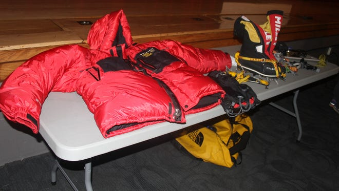 Some of the gear that Jen Loeb wore or used as she was climbing the world's greatest mountain was on display during her speech Monday, Jan. 23, at Iowa Valley High School.