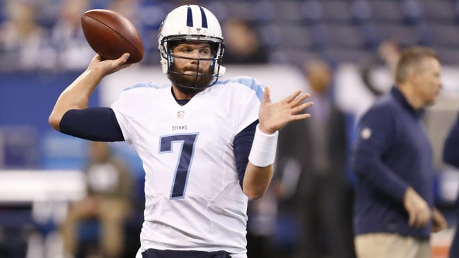 Tennessee Titans quarterback Zach Mettenberger (7) before an NFL football game against the Indianapolis Colts in Indianapolis, Sunday, Jan. 3, 2016.