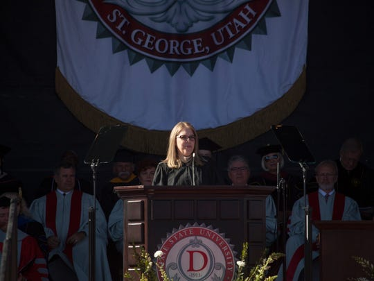 University of Utah professor Andrea B. Thomas addresses