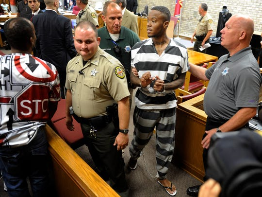 Timothy Batts leaves the courtroom after a bond hearing to have his bail reduced as he faces reckless homicide and possession of a firearm as a felon charges in Sumner County General Sessions Court on Friday, Aug. 12, 2016, in Gallatin.