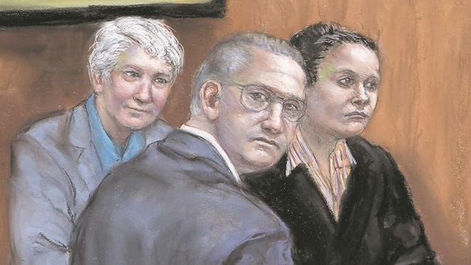 In this artist's sketch, Lenore Matusiewicz (left), David Matusiewicz and Amy Gonzalez sit in U.S. District Court in Delaware during their conspiracy and stalking trial.