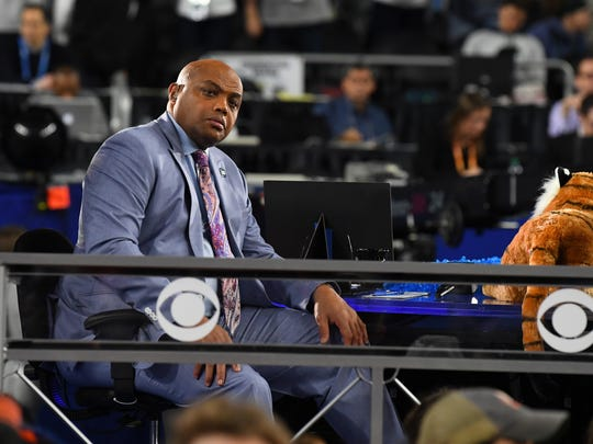 Auburn basketball legend and current broadcaster Charles Barkley on the set at the Final Four on April 6, 2019, in Minneapolis.