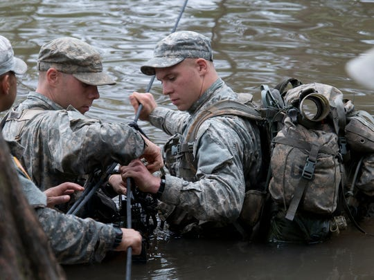 A group of Army soldiers take up guard during a training exercise at Ranger School. The Army school located at Eglin Air Force Base teaches the elite warriors swamp survival and combat skills in the final phase of training.