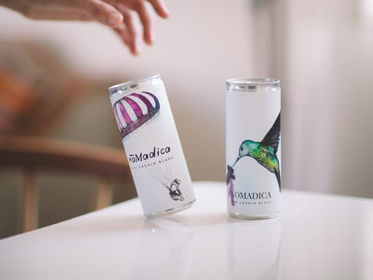 Nomadica provide a flight of canned wine for Ace Hotel & Swim Club's monthly Golden Grapes wine tasting event on Sept. 29, 2019.