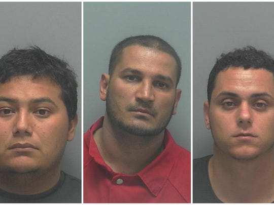 From Left: Vidal Farfan-Ramirez, 23, of Mexico; David Llanes Vasquez, 33, of Miami; Raul De La Vega Sauri, 25,  of Homestead