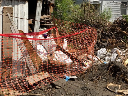 Bags of suspected asbestos-containing material were