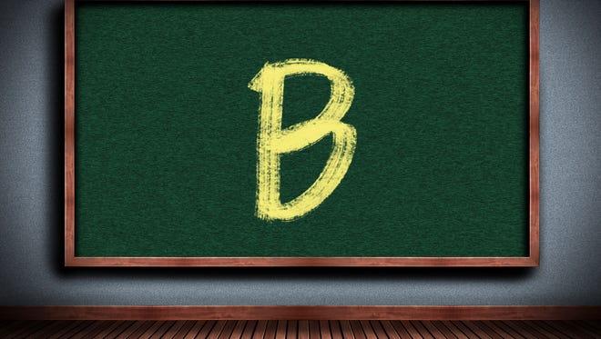 Grade B on chalkboard