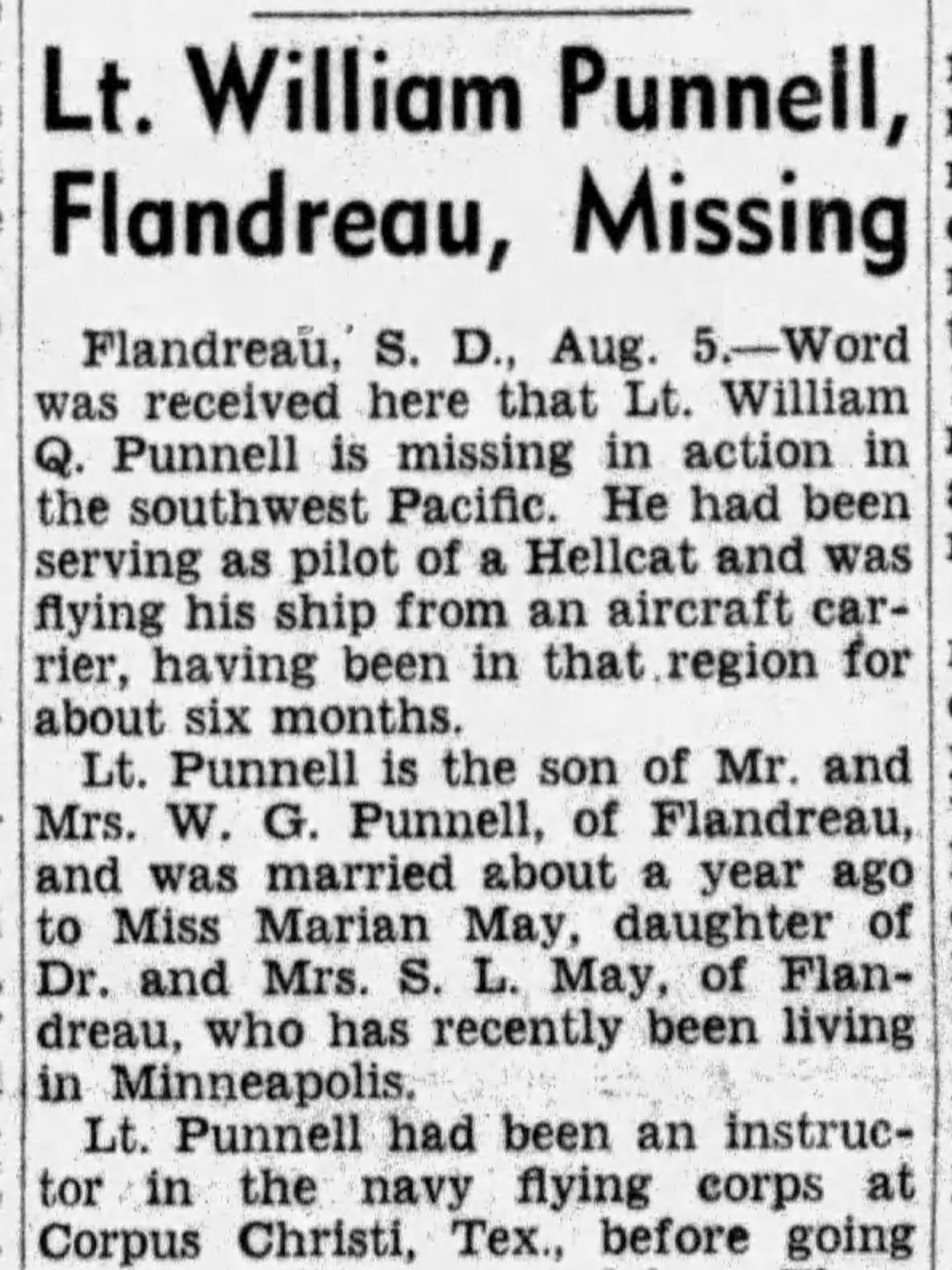 An Aug. 6, 1944 story in the Argus Leader conveyed