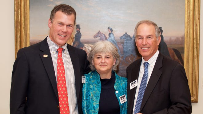 Kenneth H. Klipstein II, left, president of New Jersey Conservation Foundation, announces the official launch of the Campaign for Conservation with Michele S. Byers, executive director, and L. Keith Reed, former president. The campaign was launched during a reception in Princeton on Nov. 15.