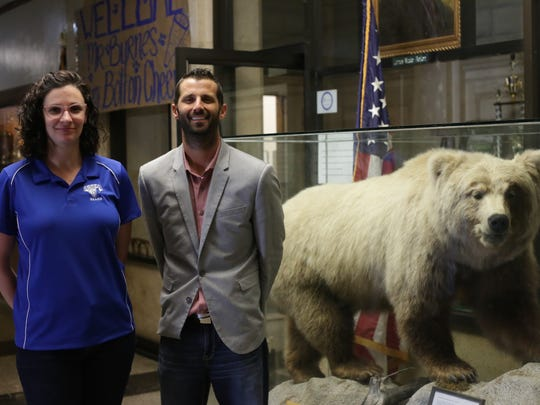 Two of Bolton High School's new administrators, Executive Assistant Principal Bonnie White (left) and Principal Matt Byrnes, pose at the school Wednesday, June 13.