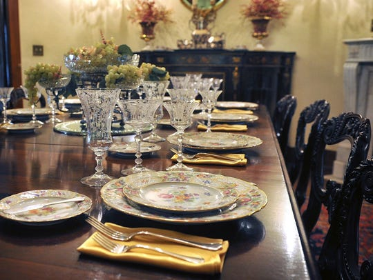 Fine crystal, silver and china adorn the custom dining