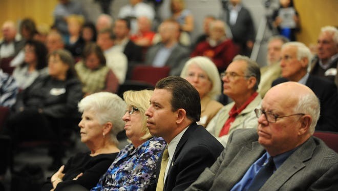 In 2013: Washoe County School District Superintendent Pedro Martinez, center front, listens to public comment during a meeting of the Washoe County Commission.   With him are school board trustee Barbara L. McLaury, left, board President Barbara Clark and trustee John Mayer, right.