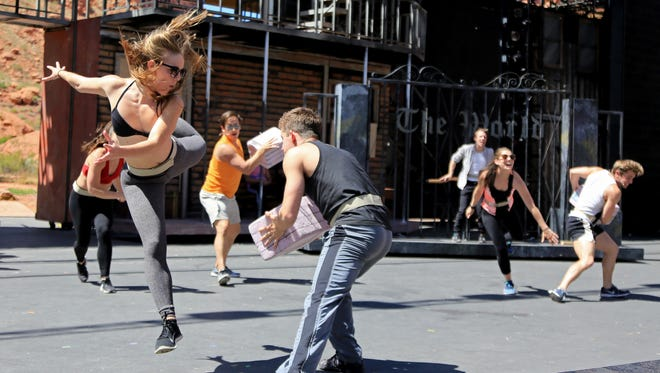 "The cast of Tuachan's 2017 production of ""Newsies"" rehearses a fight scene on May 19 at Tuacahn Amphitheatre in Ivins City."