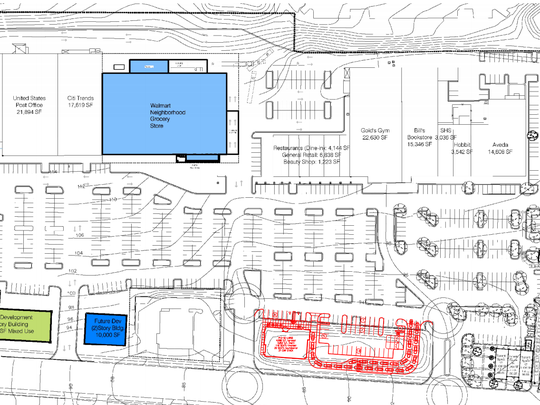 An early rendering illustration of University Village shows a proposed Walmart Neighborhood Market store.
