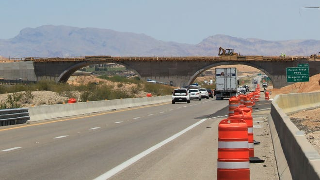 Construction on Exit 118 off the Interstate-15 interchange near Mesquite advances in this June 2016 file photo.