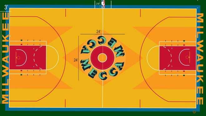 The Milwaukee Bucks released this rendering of the Robert Indiana-themed floor that will be used for one game — on Thursday, Oct. 26 — at the UW-Milwaukee Panther Arena.