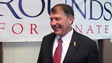 Former South Dakota Gov. Mike Rounds and candidate for U.S. Senate visits with supporters at his campaign headquarters in downtown Pierre, S.D. on Tuesday.