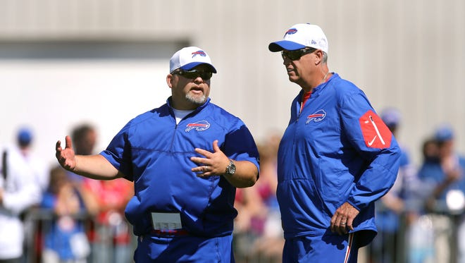"""Offensive coordinator Greg Roman and head coach Rex Ryan at St. John Fisher College. Said Roman: """"Rex is acutely aware of everything we do on offense.''"""