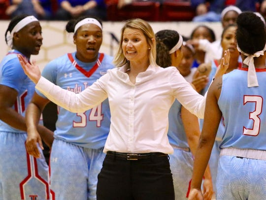 Lady Techsters coach Brooke Stoehr is ready for Boy Band Night.