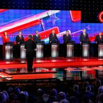 Republican presidential candidates, from left, John Kasich, Carly Fiorina, Marco Rubio, Ben Carson, Donald Trump, Ted Cruz, Jeb Bush, Chris Christie, and Rand Paul share the stage with debate moderator Wolf Blitzer during the CNN Republican presidential debate at the Venetian Hotel & Casino on Tuesday in Las Vegas.