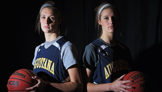 Augustana's Logan, left, and Presley O'Farrell, twins, pose for a portrait during a practice at Sioux Falls Arena Tuesday, Jan. 10, 2017, in Sioux Falls.
