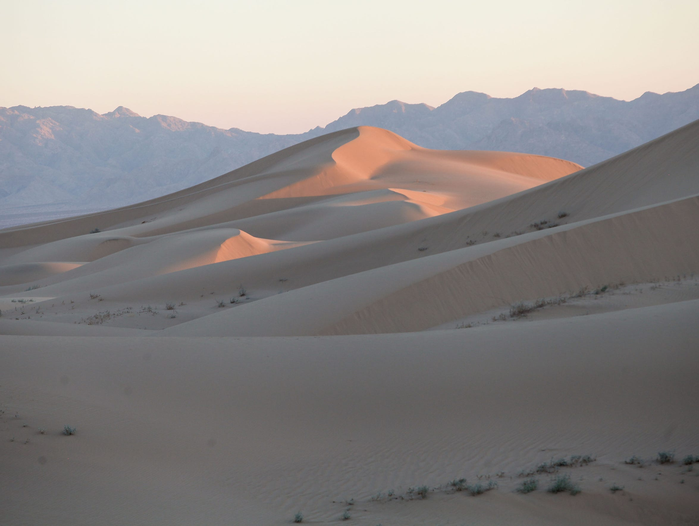 The Cadiz Dunes are located southeast of land where