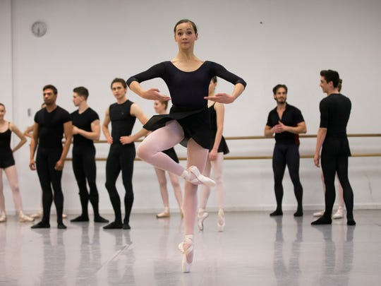 Ballerina Gisele Bethea works during a class at the