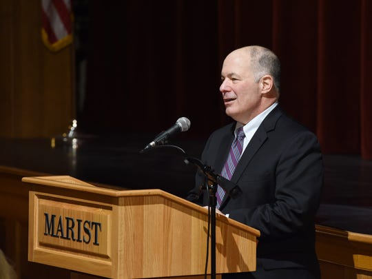 Incoming Marist College President David Yellen speaks to students, faculty and staff during a welcoming event at Marist on Monday.