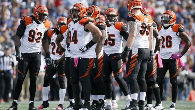 The Cincinnati Bengals defense waits for a play in the first quarter of the NFL Week 6 game between the New England Patriots and the Cincinnati Bengals at Gillette Stadium in Foxboro, Mass., on Sunday, Oct. 16, 2016. At halftime, the Patriots led 10-7.