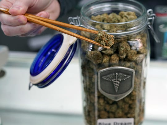 A Medicine Man cannabis dispensary worker holds a marijuana flower with chopsticks, the typical way unpacked marijuana is fished from these glass jars before being weighed and sold.