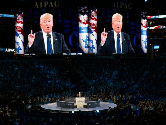 Donald Trump, now the president-elect, addresses the American Israel Public Affairs Committee conference in Washington.