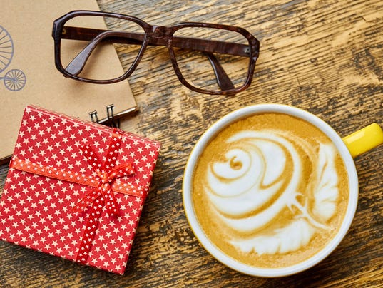Gift box, glasses and coffee.