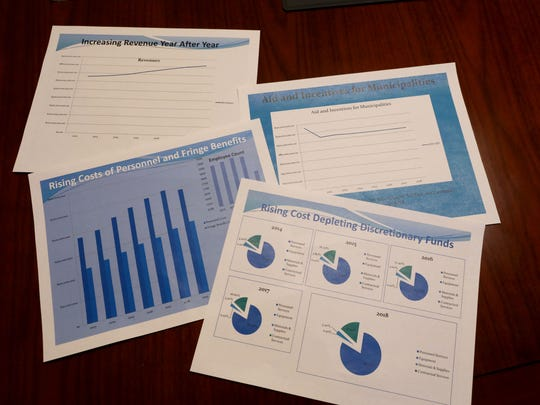 Some charts used by Yonkers Mayor Mike Spano, as he