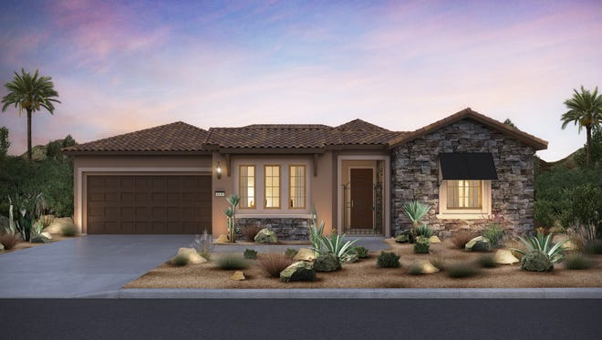 There are ten different home models planned for Del Webb Rancho Mirage. This rendering shows a 2,700-square-foot Tuscan-style house.