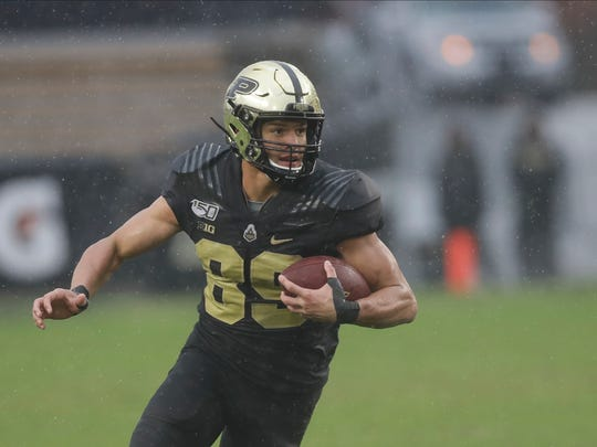 Purdue tight end Brycen Hopkins (89) runs during the second half of an NCAA college football game against Illinois, Saturday, Oct. 26, 2019, in West Lafayette, Ind. (AP Photo/Darron Cummings)