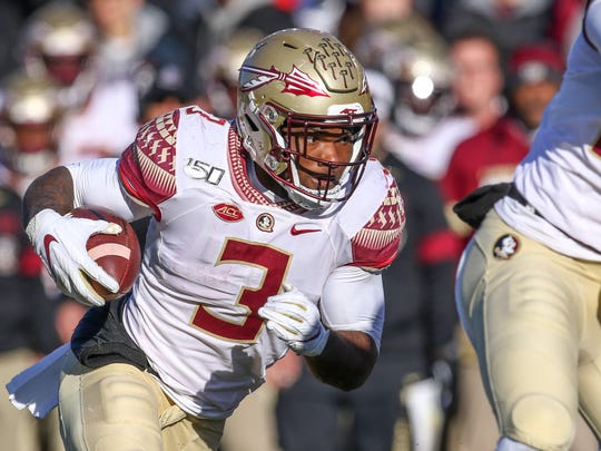 Nov 9, 2019; Chestnut Hill, MA, USA; Florida State Seminoles running back Cam Akers (3) runs the ball against the Boston College Eagles during the second half at Alumni Stadium. Mandatory Credit: Paul Rutherford-USA TODAY Sports
