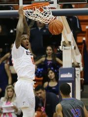 UTEP's Terry Winn slam dunks Saturday against Louisiana