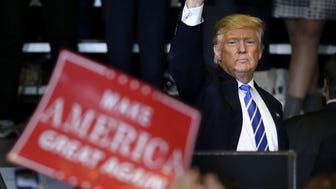 Donald J. Trump waves to the crowd after he promised jobs and an improved economy at a rally at the Waukesha County Expo Center in Waukesha Wednesday.