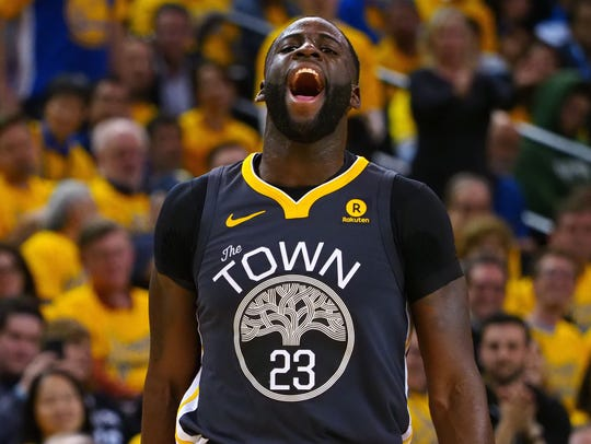 Draymond Green reacts during Game 2 against the San