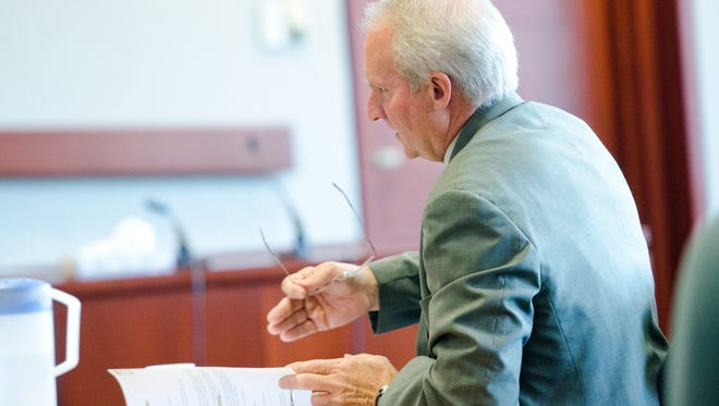 Judge Gregory Rainville appears before the Judicial Conduct Board at Vermont District Court in Burlington on Thursday for a hearing on a formal complaint.