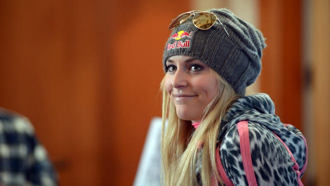 Lindsey Vonn  speaks at a press conference following team training at Vail, Colo., on Nov. 8.